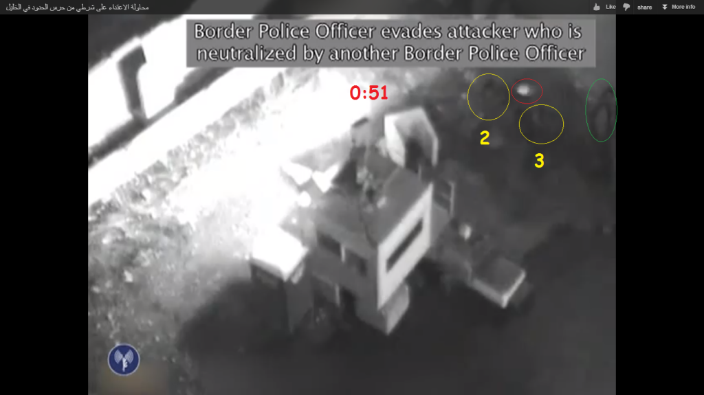 Screenshot 3 (min 0:51): another shooting by the female soldier (number 2 in yellow circle)