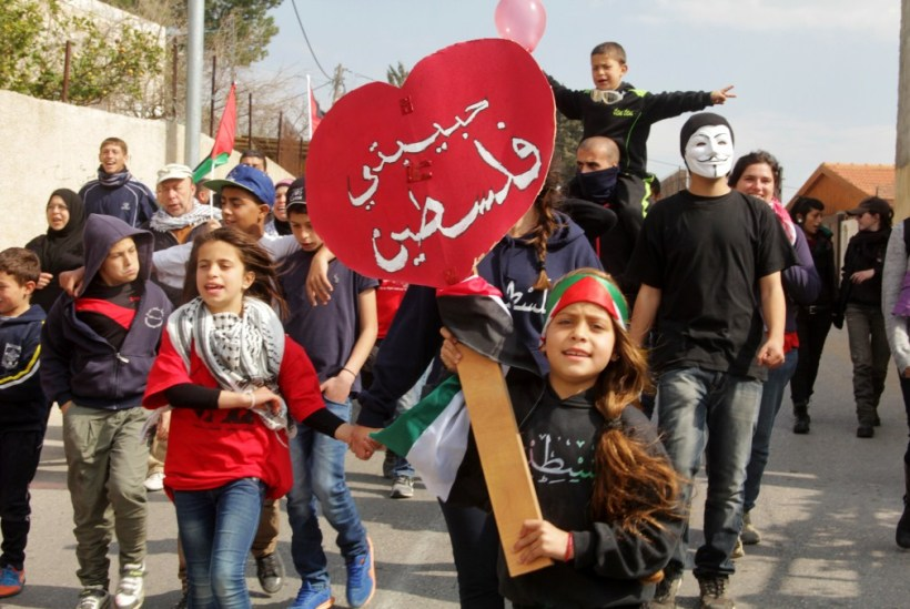 """Palestine my love"" Nabi Saleh Weekly demo, 14.2.2014 Photo by Tamimi Press"